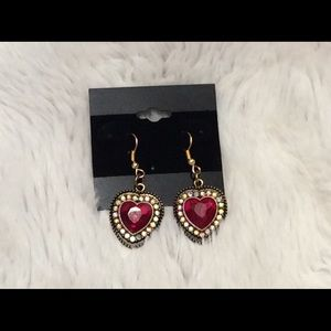Red Crystal Rhinestone Heart Earrings